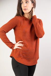 Waffle Knit Thermal Long Sleeve Top