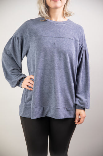 Heather Blue Oversized Bell Sleeve Top