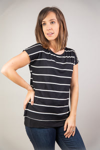 Maternity + Nursing Double Layered Black and White Striped Top