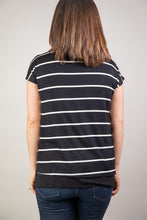Load image into Gallery viewer, Maternity + Nursing Double Layered Black and White Striped Top