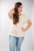 Load image into Gallery viewer, Cream Seam Detail Dolman Top With T-Strap Back