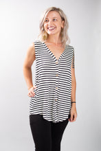 Load image into Gallery viewer, Sleeveless Black + White Stripe Top
