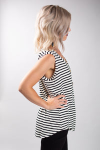 Sleeveless Black + White Stripe Top