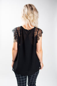 Flowy Lacy Chiffon Top with Tank Top Lining