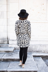 Ivory Leopard Print Hi-Low Tunic Top with Pockets (Plus Option)