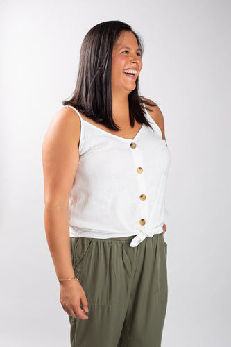 Button Detail Linen Tank with Tie Waist