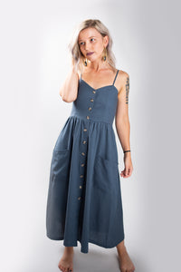 Blue Linen Button Down Midi Dress