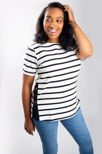 Black and White Striped Short Sleeve Blouse with Gold Button Side Detail