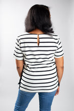 Load image into Gallery viewer, Black and White Striped Short Sleeve Blouse with Gold Button Side Detail