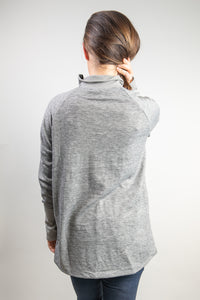 Crossover Hem Pullover with Zipper