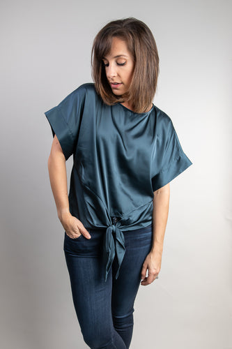 Blue-Grey Short Sleeve Satin Top with Tie Waist