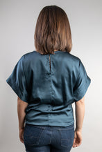 Load image into Gallery viewer, Blue-Grey Short Sleeve Satin Top with Tie Waist