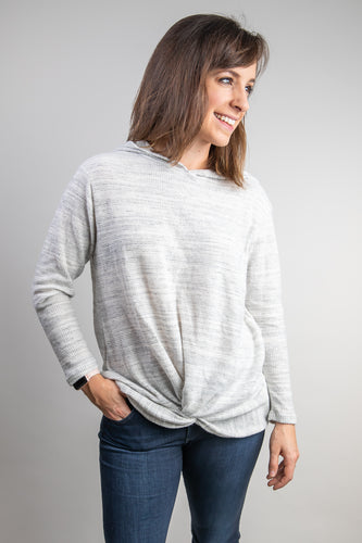 Brushed Marble Knit Hoodie Top