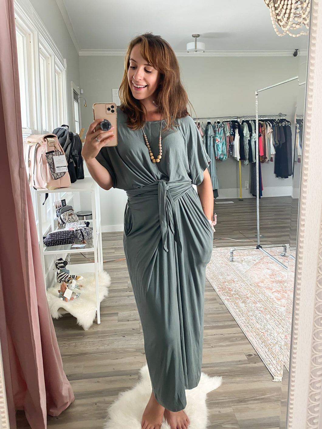 Sage Wrap-Tie Dress with Pockets