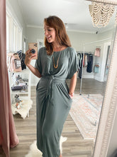 Load image into Gallery viewer, Sage Wrap-Tie Dress with Pockets