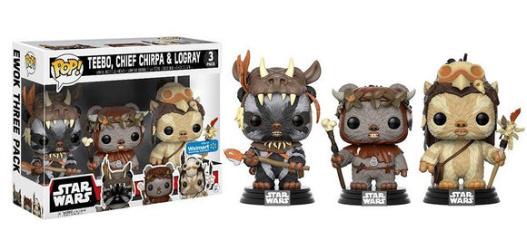 Funko Pop! Star Wars: Teebo, Chief Chirpa & Logray 3 Pack Walmart Exclusive