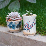 Elegant Handmade Blue and White Porcelain Succulent Planter with Drainage -- Wintersweets
