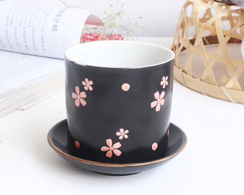 Small Ceramic Tea Cup Succulent Planter with Drainage Hole and Saucer