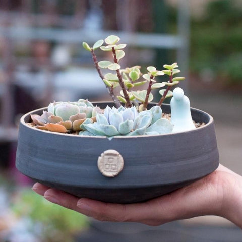 Large Japanese Style Handmade Ceramic Succulent Arrangement Planter with Drainage Hole