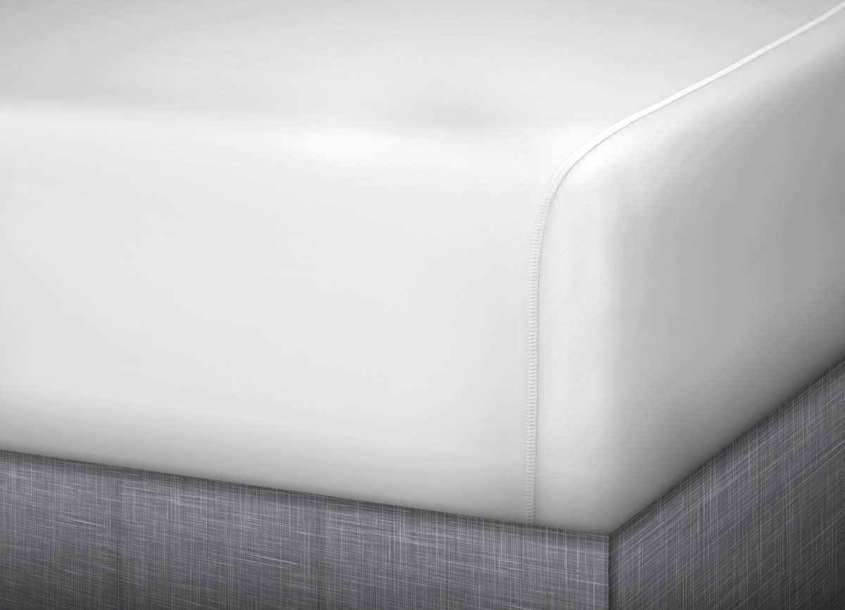 detail image of MIDNIGHT LABEL Fitted Sheet shown in porcelain  #choose-your-color_porcelain