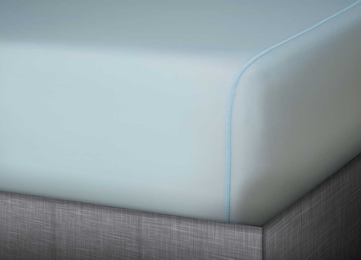 MIDNIGHT LABEL Fitted Sheet shown in spa blue #choose-your-color_spa-blue