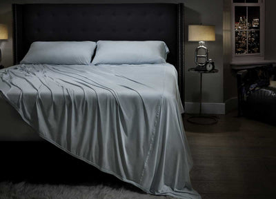 MIDNIGHT LABEL Flat Sheet shown in spa blue #choose-your-color_spa-blue