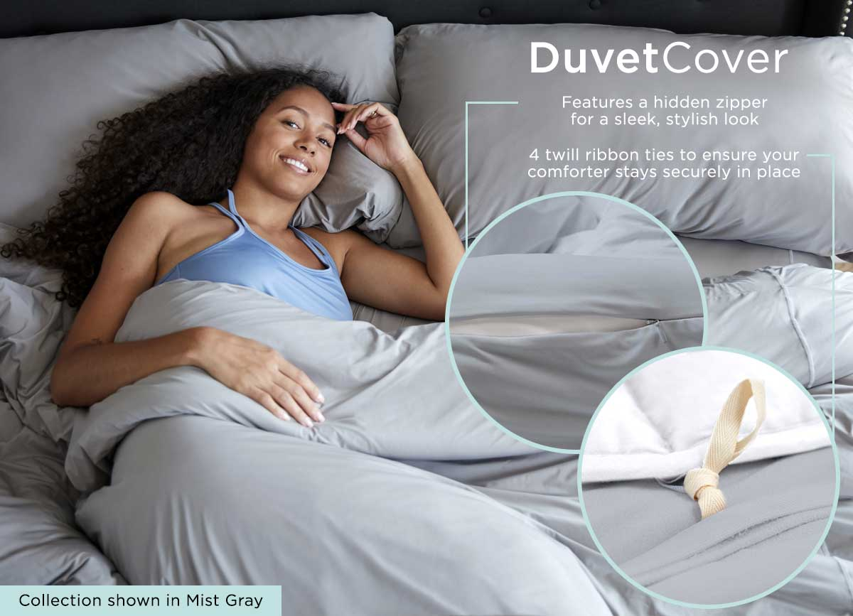 Midnight Label Duvet Cover Infographic #choose-your-color_stone