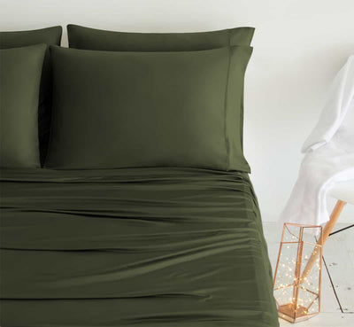 LUXURY COPPER Pillowcases shown in Olive #choose-your-color_olive