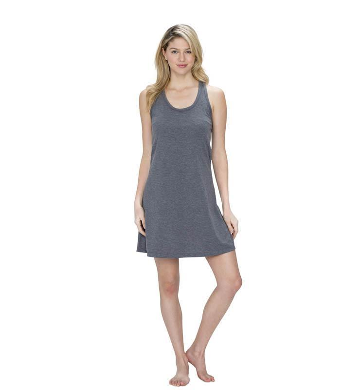 828 Women's Racer Flare Tank Dress heather-gray front