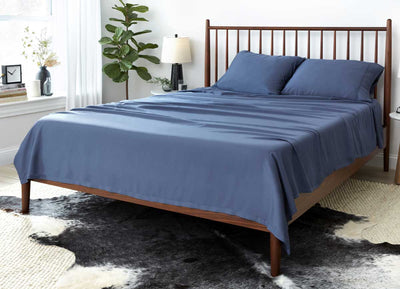 Lifestyle of ARCTIC AIRE•MAX Sheet Set shown in Denim #choose-your-color_denim