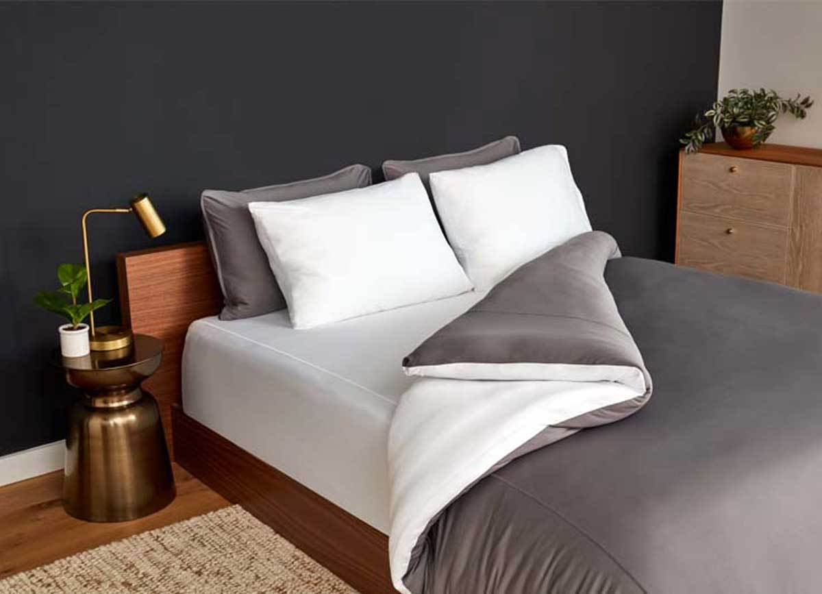 Navy Duvet Cover on bed in room #choose-your-color_graphite-bright-white