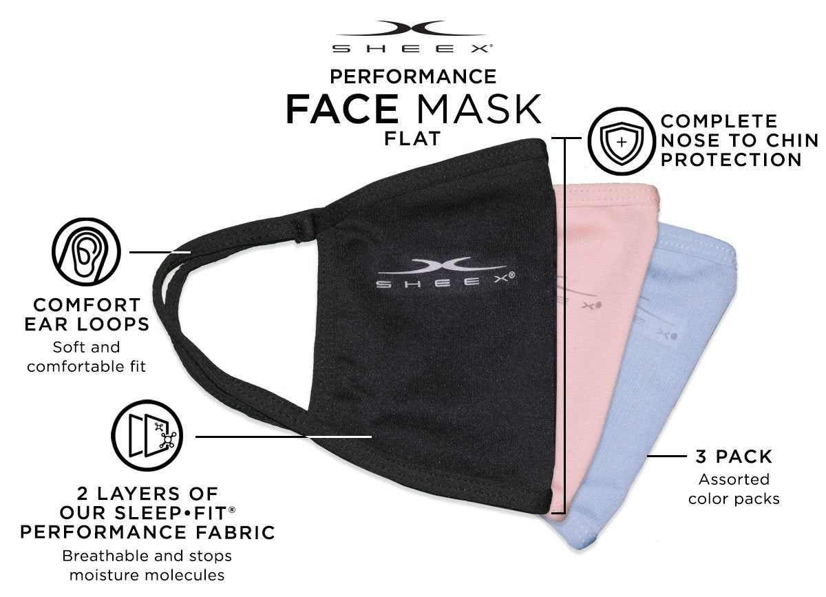SHEEX Performance Flat Face Mask - 3 Pack #choose-your-color_soft-blue-rose-quartz-jet-black