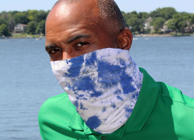 Model Wearing SHEEX Gaiter in Blue Tie Dye#choose-your-color_blue-tie-dye