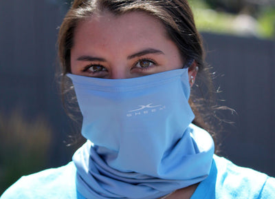 Model wearing SHEEX Gaiter in Carolina Blue #choose-your-color_carolina-blue