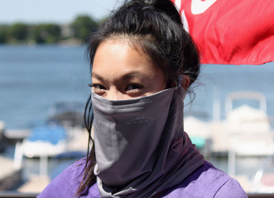 Model wearing SHEEX Gaiter in Graphite #choose-your-color_graphite