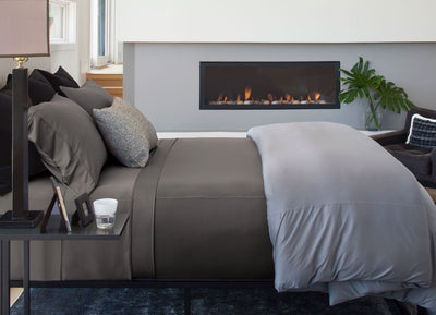Luxury Copper Sheet Set on bed in Slate #choose-your-color_slate
