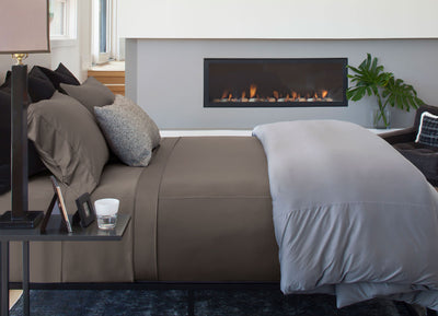 Luxury Copper Sheet Set on bed in Taupe #choose-your-color_taupe