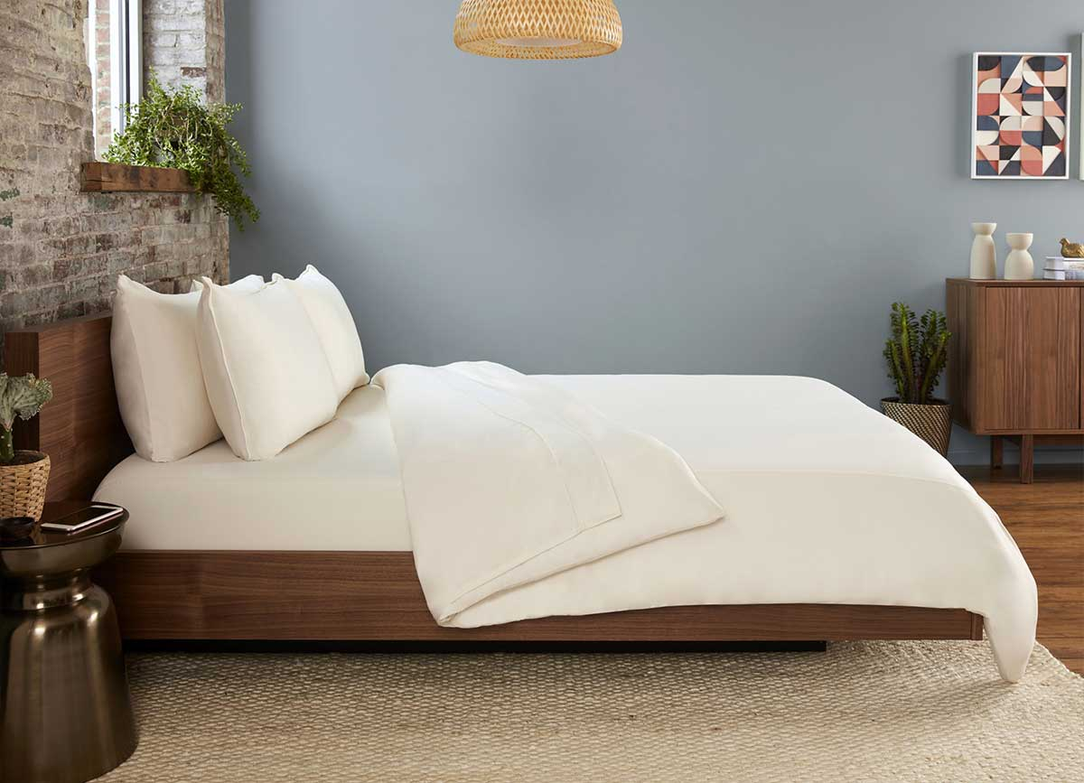 Original Performance Sheet Set Lifestyle Image Shown in Ecru #choose-your-color_ecru