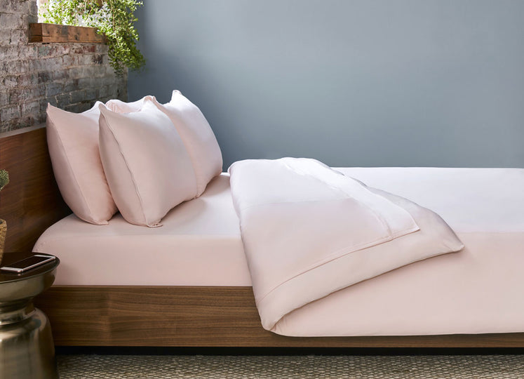 Blush Pink  Duvet Cover on bed in room #choose-your-color_blush-pink