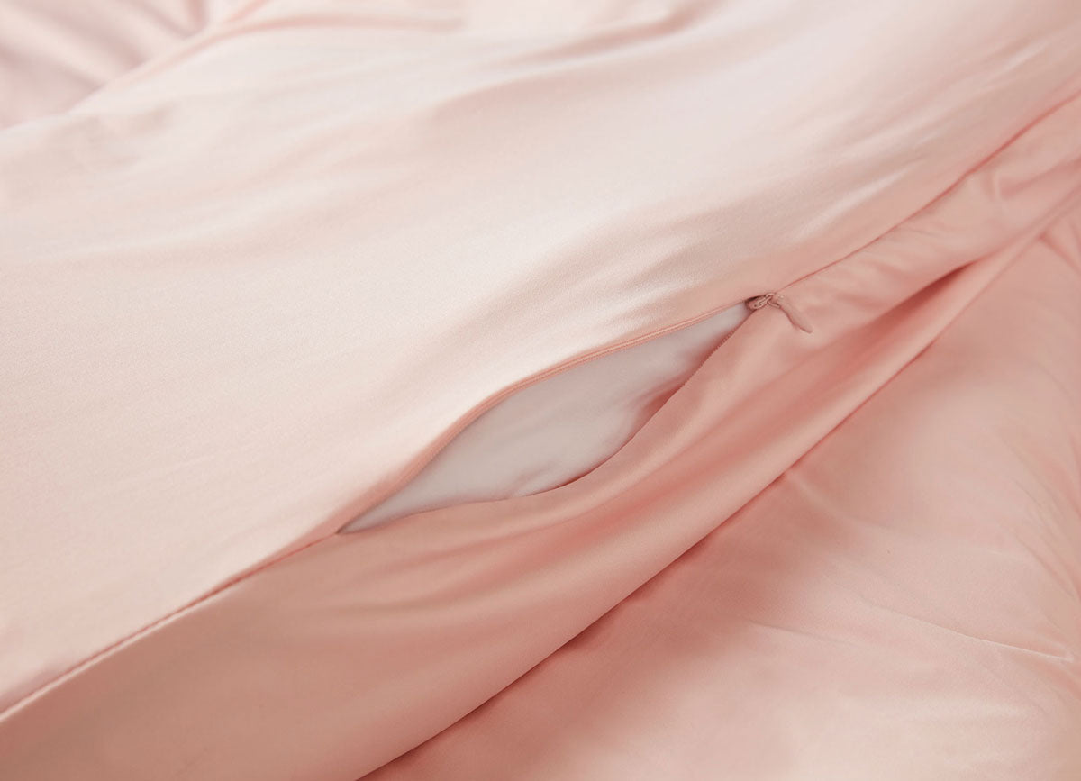 Blush Pink Duvet Cover close up of hidden zipper #choose-your-color_blush-pink