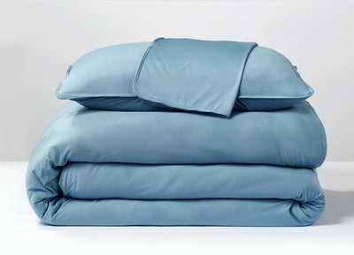 Carolina Blue  Duvet Cover folded stack #choose-your-color_carolina-blue