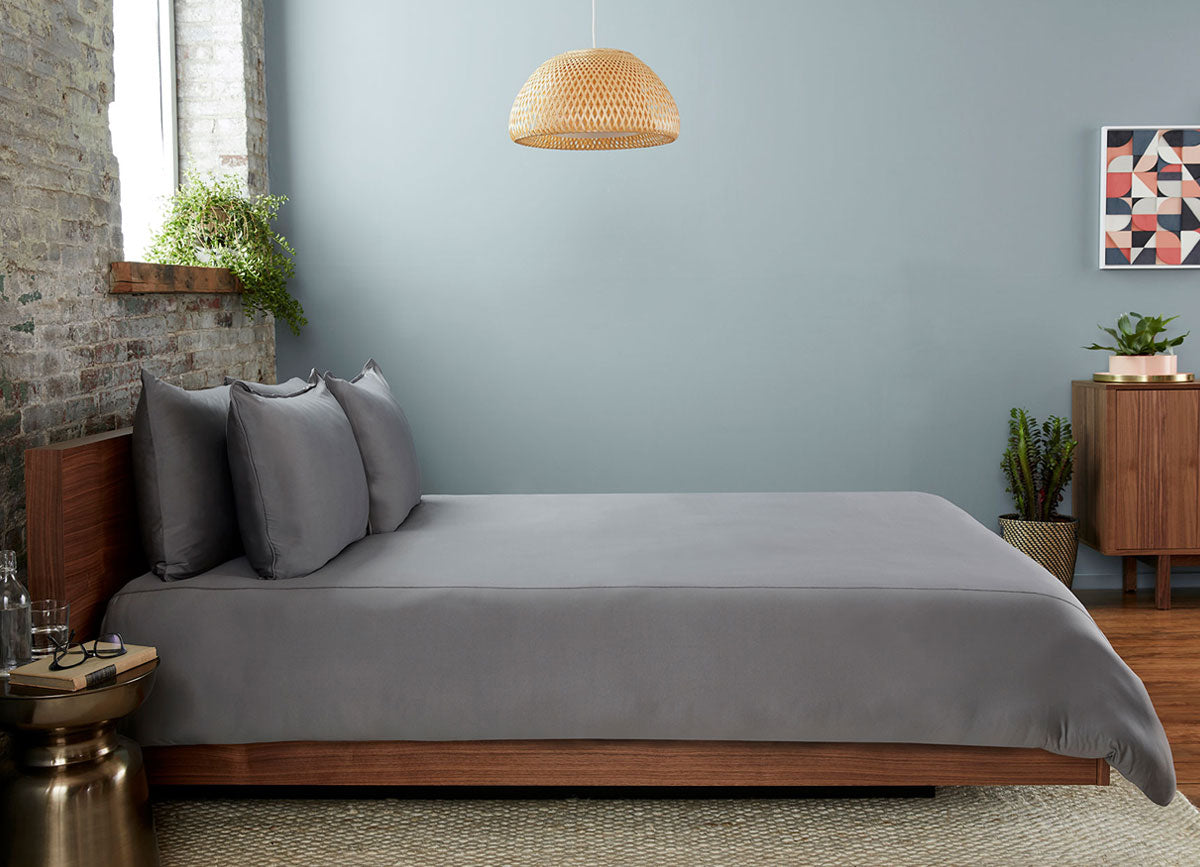 Graphite  Duvet Cover on bed in room #choose-your-color_graphite