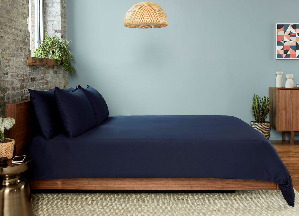 Navy  Duvet Cover on bed in room #choose-your-color_navy