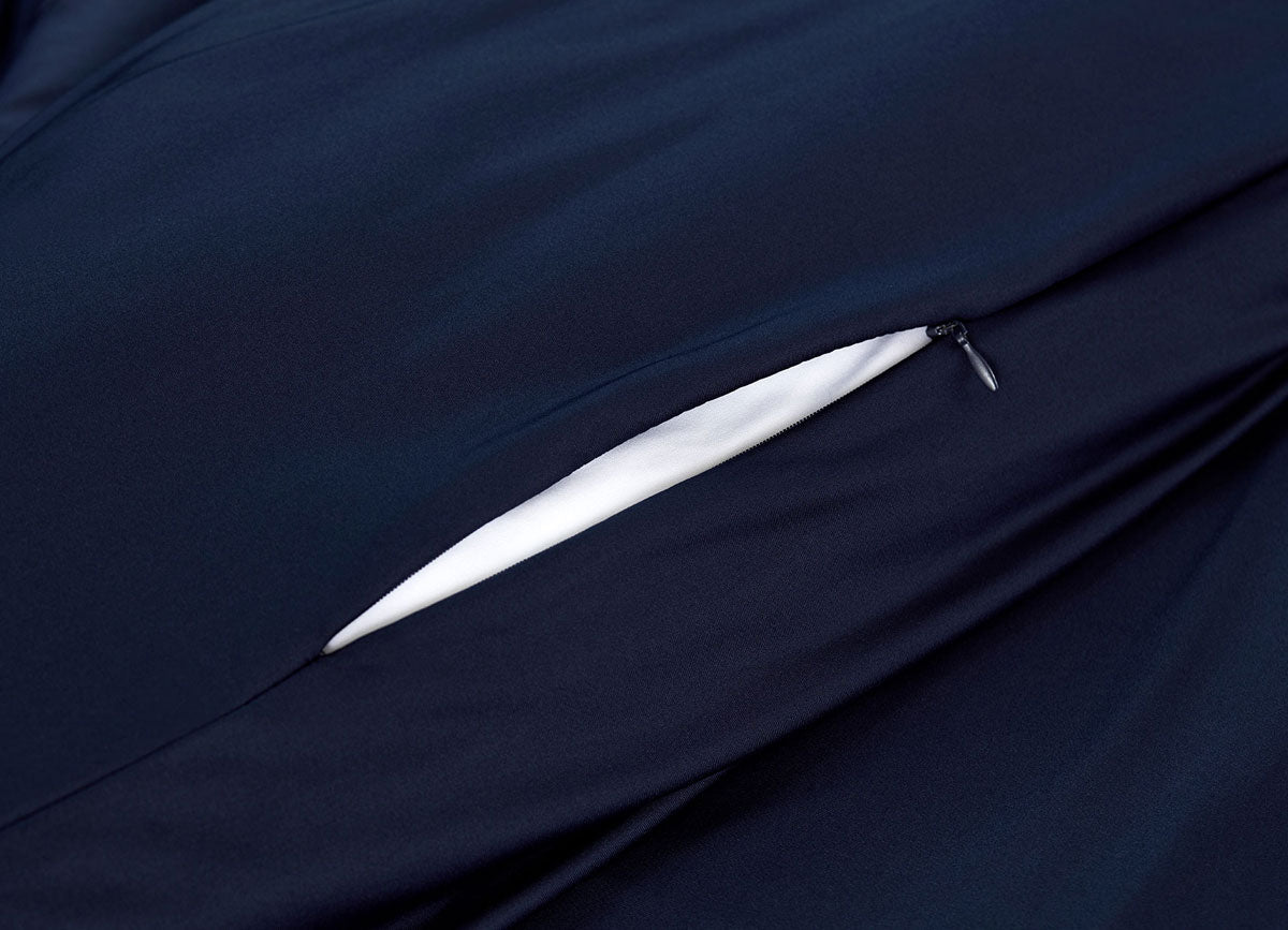 Navy Duvet Cover close up of hidden zipper #choose-your-color_navy