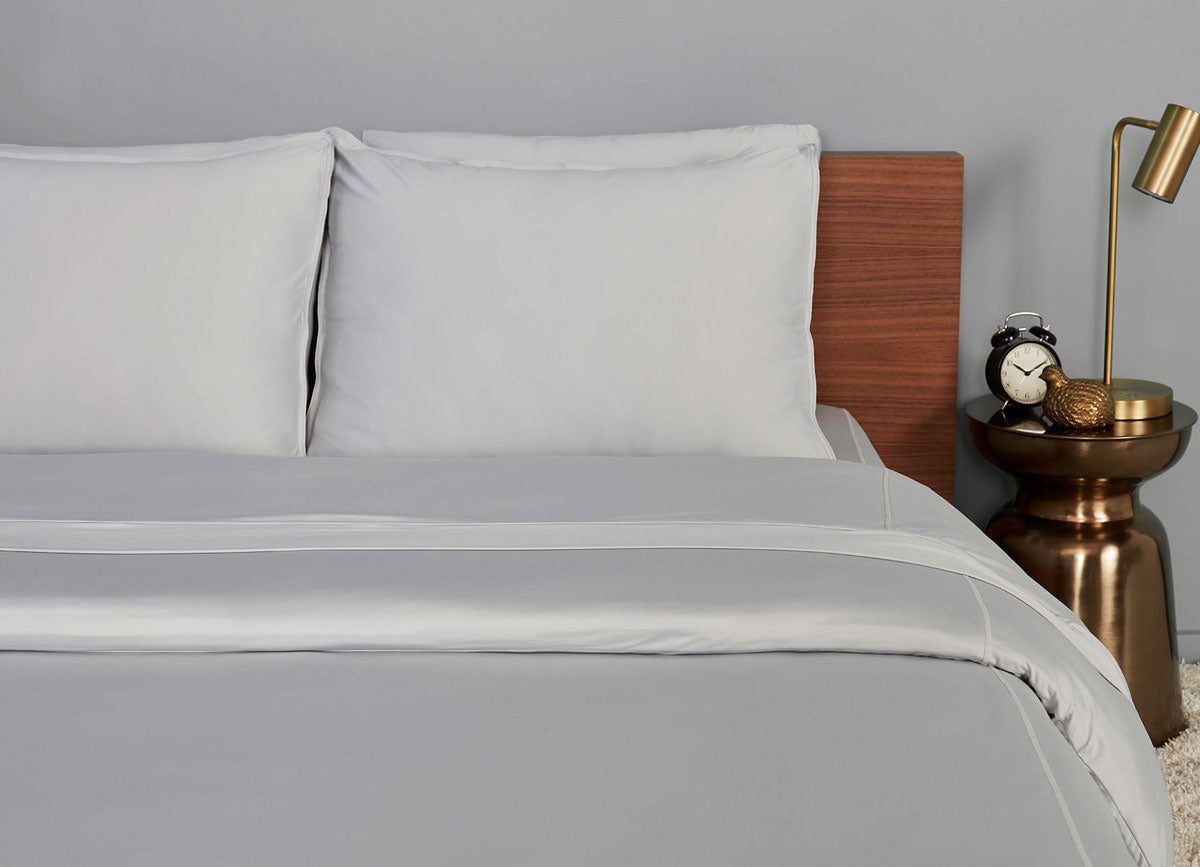 Pearl Blue  Duvet Cover on bed in room #choose-your-color_pearl-blue