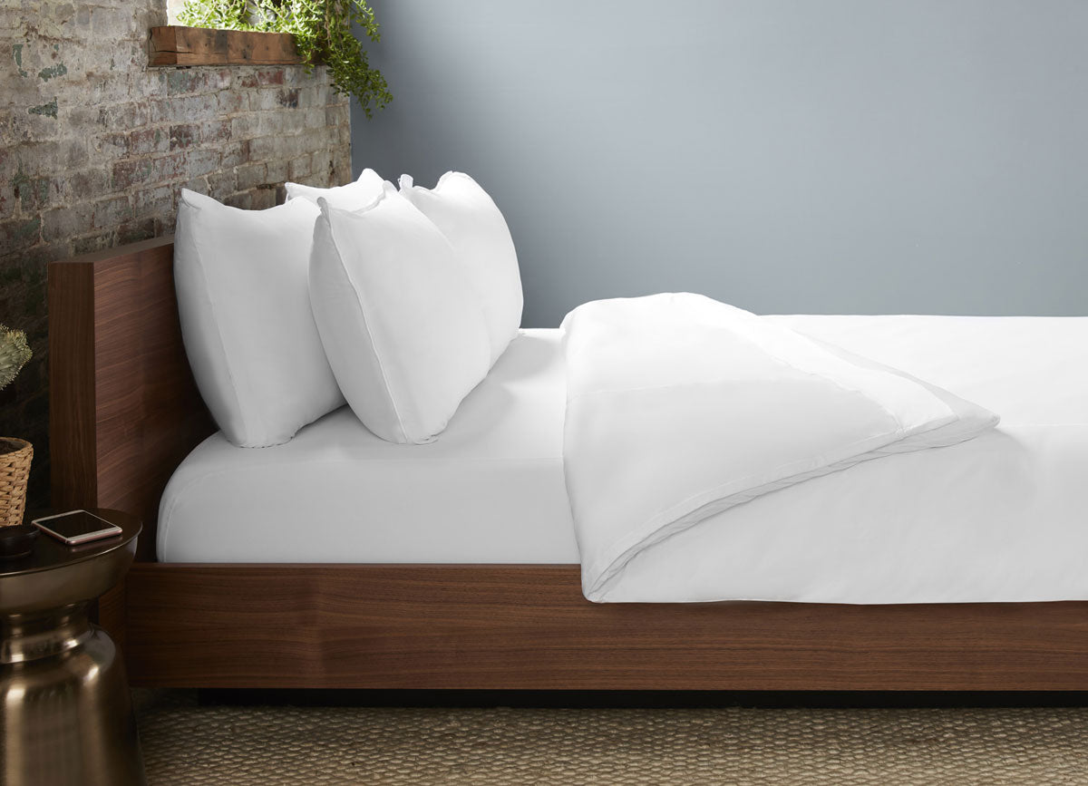 Bright White Duvet Cover on bed in room #choose-your-color_bright-white
