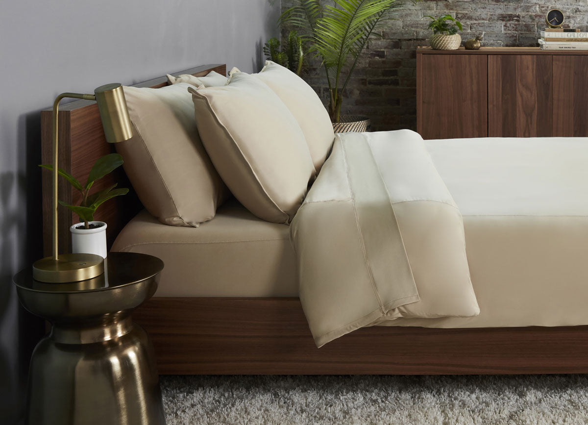 Khaki  Duvet Cover on bed in room #choose-your-color_khaki