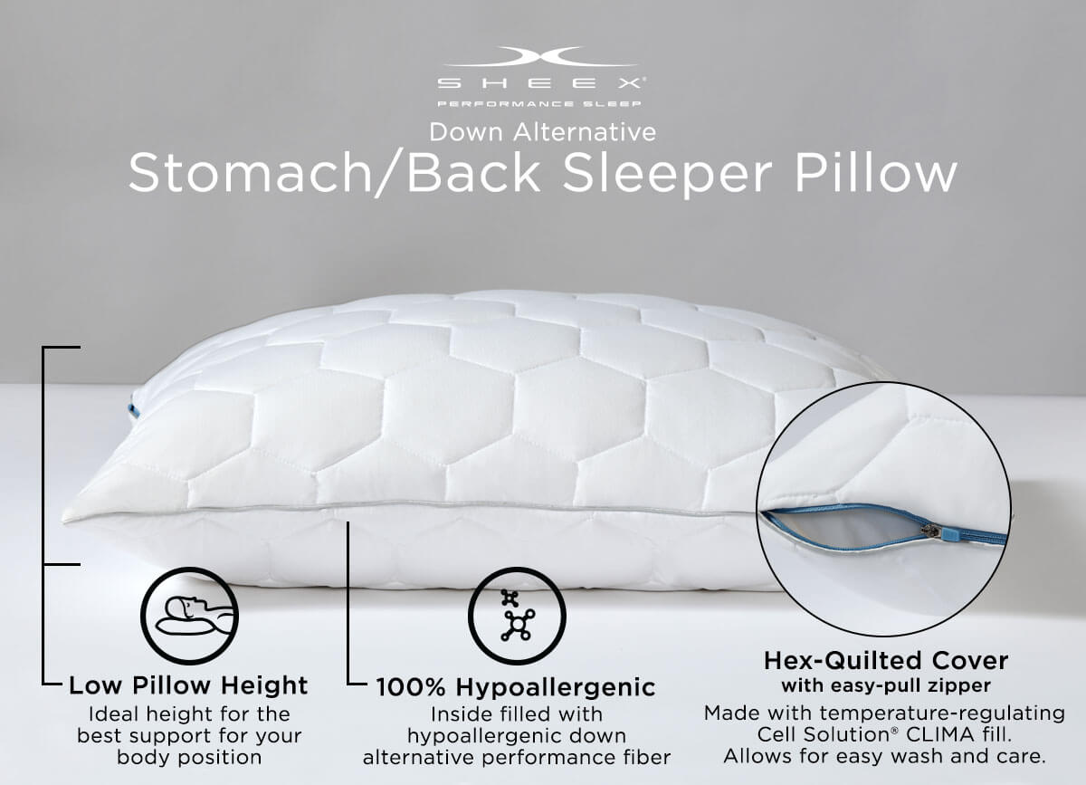 Infographic of Original Performance Down Alternative Stomach/Back Sleeper Pillow