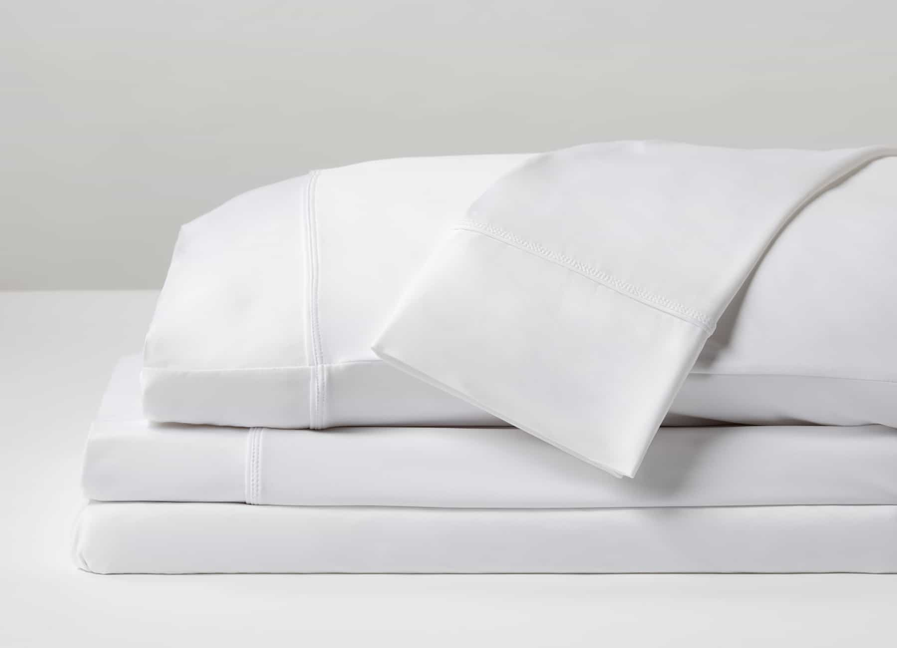 Original Performance Sheet Set Image Shown Folded and Stacked in Bright White #choose-your-color_bright-white
