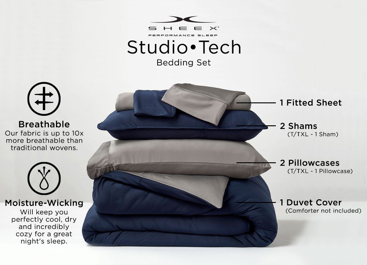 Studio Tech Bedding Infographic Original Performance Fabric, European Style, Reversible Colors #choose-your-color_navy-graphite